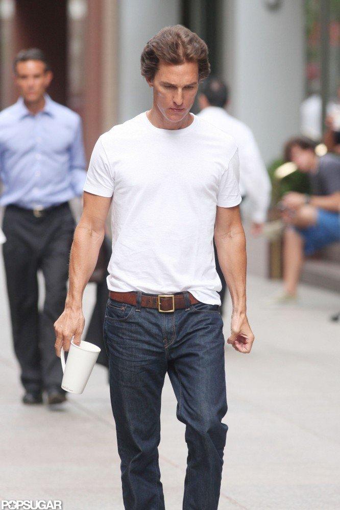 Matthew McConaughey carried a coffee mug.