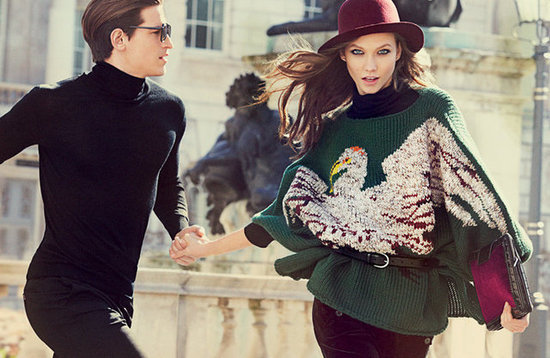 Karlie Kloss's bird-printed sweater and wine-colored hat make us yearn for chillier Fall temps in the latest from Milan-based brand Stefanel.