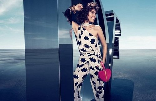 Arizona Muse pulls off this whimsically printed jumpsuit from Diane von Furstenberg with ease.