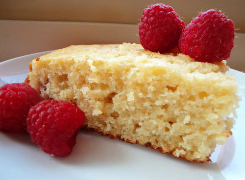 Lemony Yogurt Cake w/ Raspberries