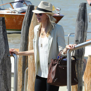Naomi Watts Carrying Brown Leather Bag