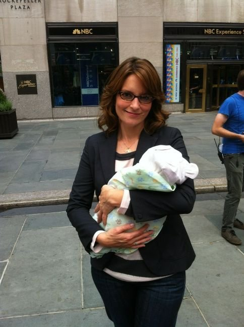 Tiny Fey was spotted on the set of 30 Rock — with a baby! Source: Twitter user jackburditt