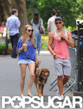 Amanda Seyfried and a friend spent some time outdoors in NYC.