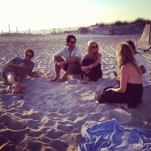 Rachel Zoe chatted with friends on a beach in the Hamptons.  Source: Instagram User rachelzoe
