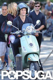 Penn Badgley had a laugh while on a Vespa with Blake Lively.