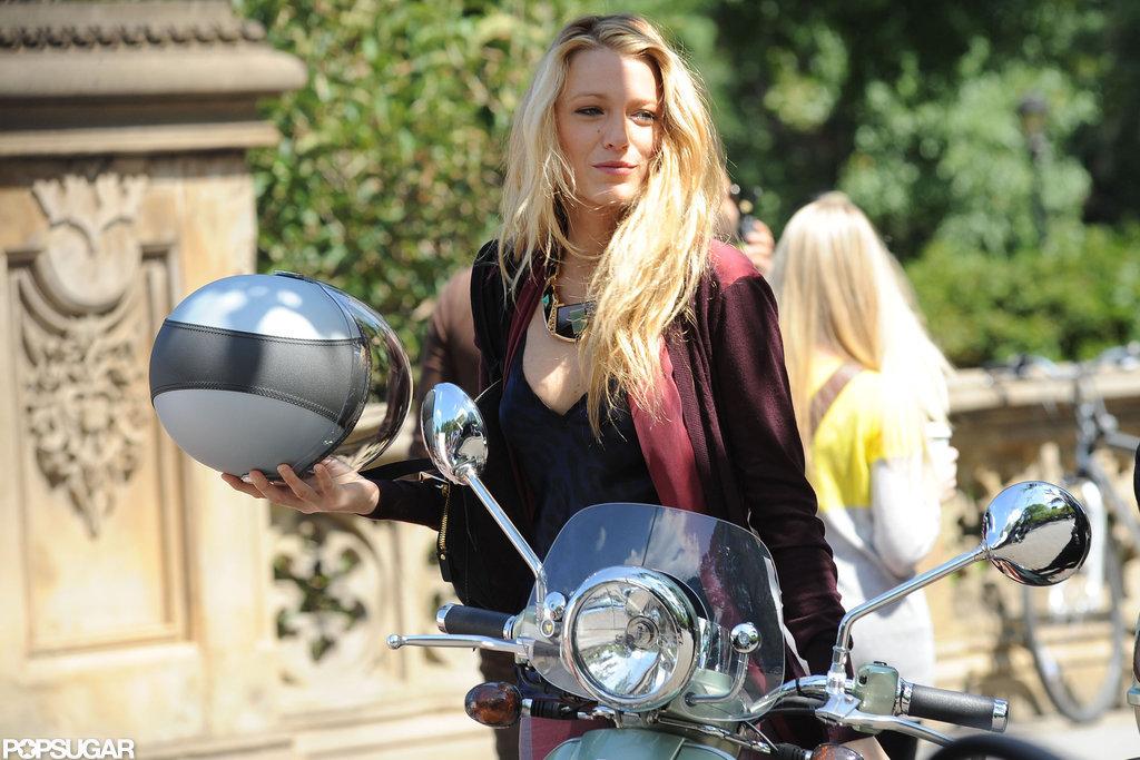 Blake Lively showed off her blond locks after taking the helmet off.