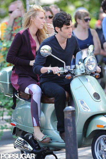 Blake Lively and Penn Badgley hopped on a Vespa in NYC.