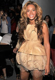For Vera Wang's show in September 2011, Beyoncé Knowles rocked a daringly short dress backstage.