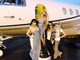 Paris Hilton hopped on a plane with friends after a trip to Las Vegas. 