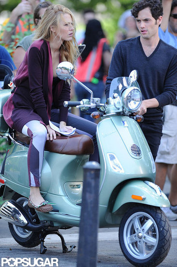 Blake Lively and Penn Badgley prepared for a scene.