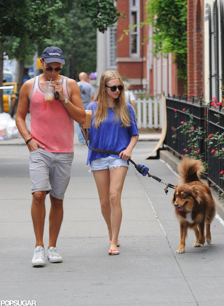 Amanda Seyfried and a friend took to the sidewalk in NYC.