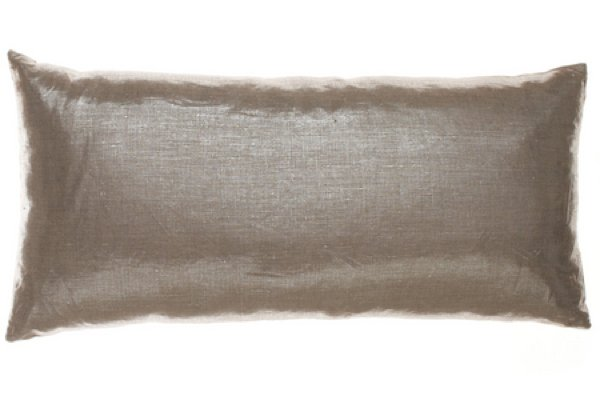 For a glitzy twist on traditional linen, try this Metallized Linen Long Pillow ($200).
