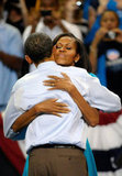 The Obamas hugged at a campaign rally in Richmond, VA.