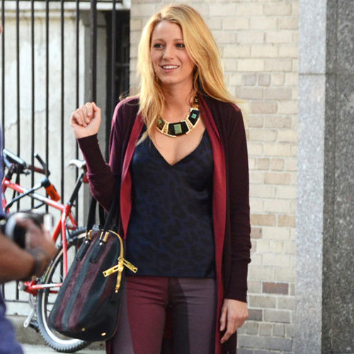 Blake Lively Wearing Printed Jeans