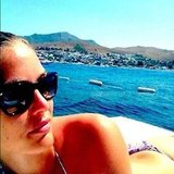Bar Refaeli enjoyed sunning her back off the coast of Turkey.