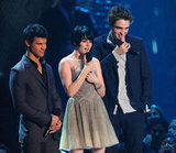 In 2009, Kristen Stewart sported a short bob when she took the stage with Robert Pattinson and Taylor Lautner.