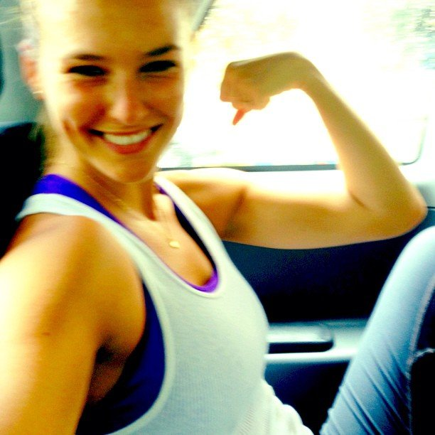 Bar Refaeli fit in a few workouts while on the road in August.  Source: Instagram user barrefaeli