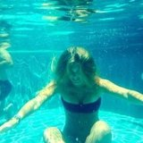 Bar Refaeli collected her thoughts meditated underwater during a July swim.  Source: Instagram user barrefaeli