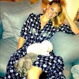 Bar Refaeli kicked back in August with her tiny pals MishMish and Pucci. Source: Instagram user barrefaeli