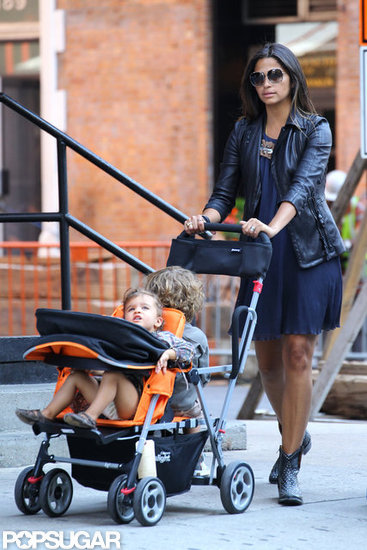 Camila Alves took a stroll with Levi and Vida in NYC.