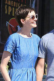 Anne Hathaway had a big smile on her face.