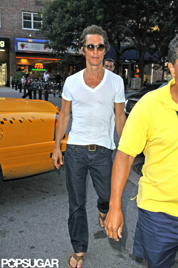 Matthew McConaughey returned to his NYC hotel.