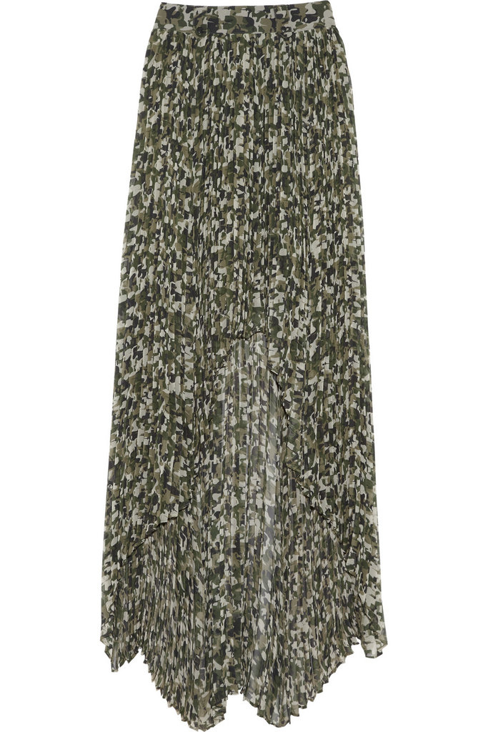 We love that Karl got in on the camo trend, but with a totally feminine twist. This breezy maxi was made for pairing with a slouchy cashmere sweater.  Karl Sunray Camo-Print Silk-Blend Maxi Skirt ($520)