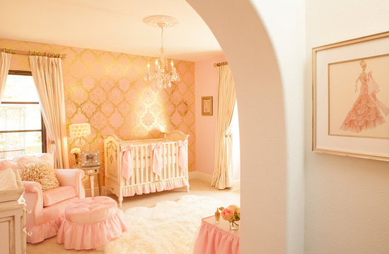 "Gerri and Naomi selected a suite of nursery furniture by celebrity favorite Art For Kids. ""We knew that this room was going to be special, so we started by choosing something heavenly with impeccable details. Art For Kids was the perfect choice,"" Gerri says.  Source: Little Crown Interiors"