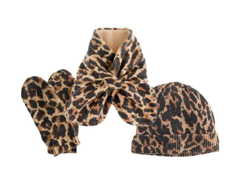 Crewcuts Leopard Gloves, Scarf, and Hat