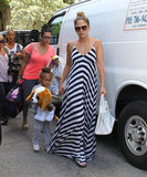J Lo wore a long maxi dress on the drive down from Atlanta to Miami.