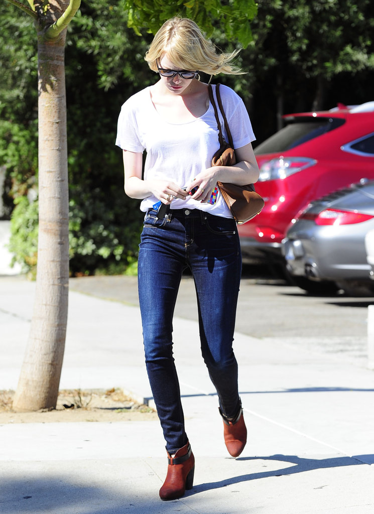 Emma Stone got her hair done at a salon in LA.