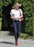 Emma Stone wore a white t-shirt and jeans to get her hair done in LA.