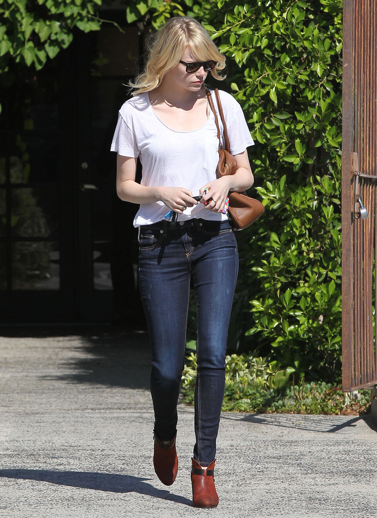 Emma Stone walked to her car after getting her hair done in LA.