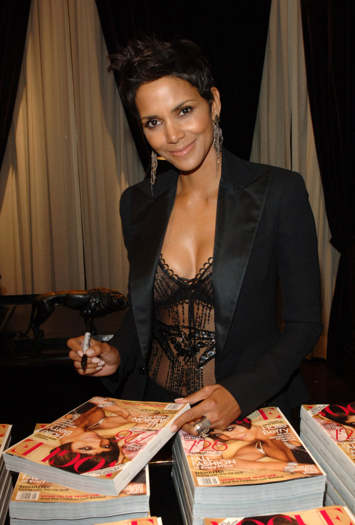 Halle Berry signed copies of her US Vogue cover during the 2010 festivities.