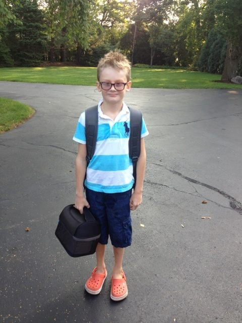 Jenny McCarthy's son, Evan, looked ready for his first day at a new school in Chicago. Source: Twitter user Jenny McCarthy