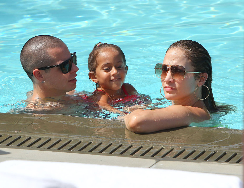 J Lo Relaxes in a Bright Bikini With Casper, Emme, and Max