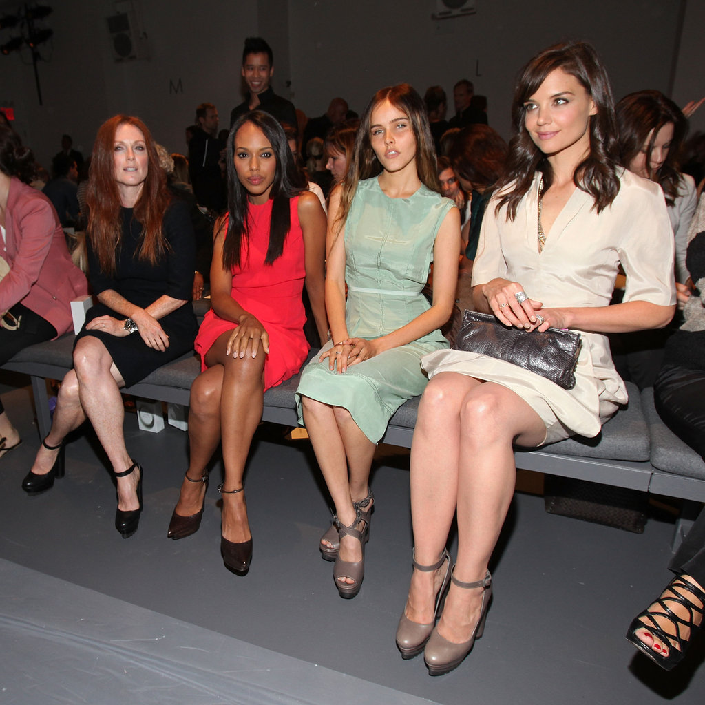 Julianne Moore, Kerry Washington, Isabel Lucas and Katie Holmes were colorful for Calvin Klein's NYC show in September 2010.
