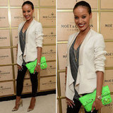 Selita Ebanks works a serious pop of color