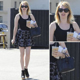 Emma Roberts's skirt-and-booties combo makes for a perfect transitional style.