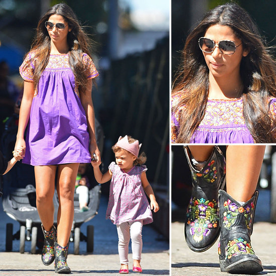 Camila Alves mixes cowboy boots with a boho dress. You can make it work too.