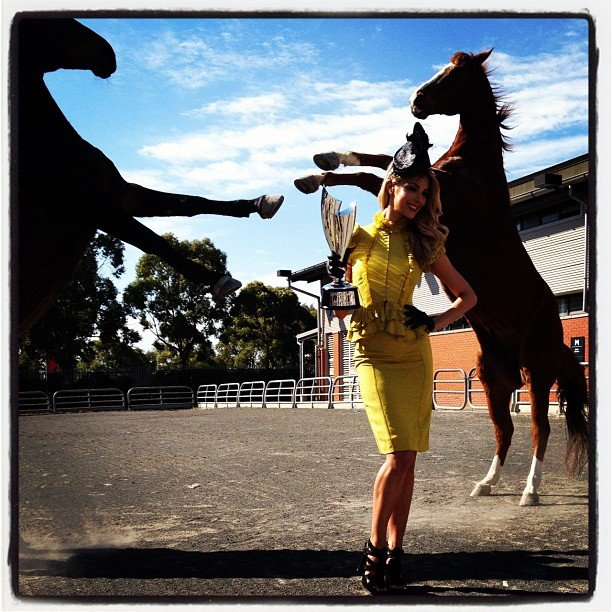 Jennifer Hawkins celebrated Myer's 50 Years of Fashions on the Field with two horses. Source: Instagram user JenHawkins_
