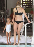 On Saturday, Jennifer Lopez wore a black bikini to hit the pool in Miami with daughter Emme.