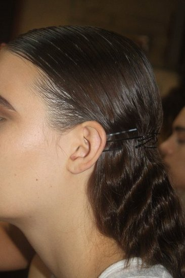 "Bobby pins never really go away, but they were used as a major accent at Thakoon. ""If they exist for a million years, there is a reason,"" Gilbert said. ""The barrettes represent the cage. And it could be a wedding look if you add flowers or a veil."""