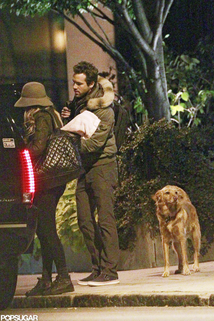 Blake Lively and Ryan Reynolds were spotted in Boston with Ryan's dog Baxter in October 2011.
