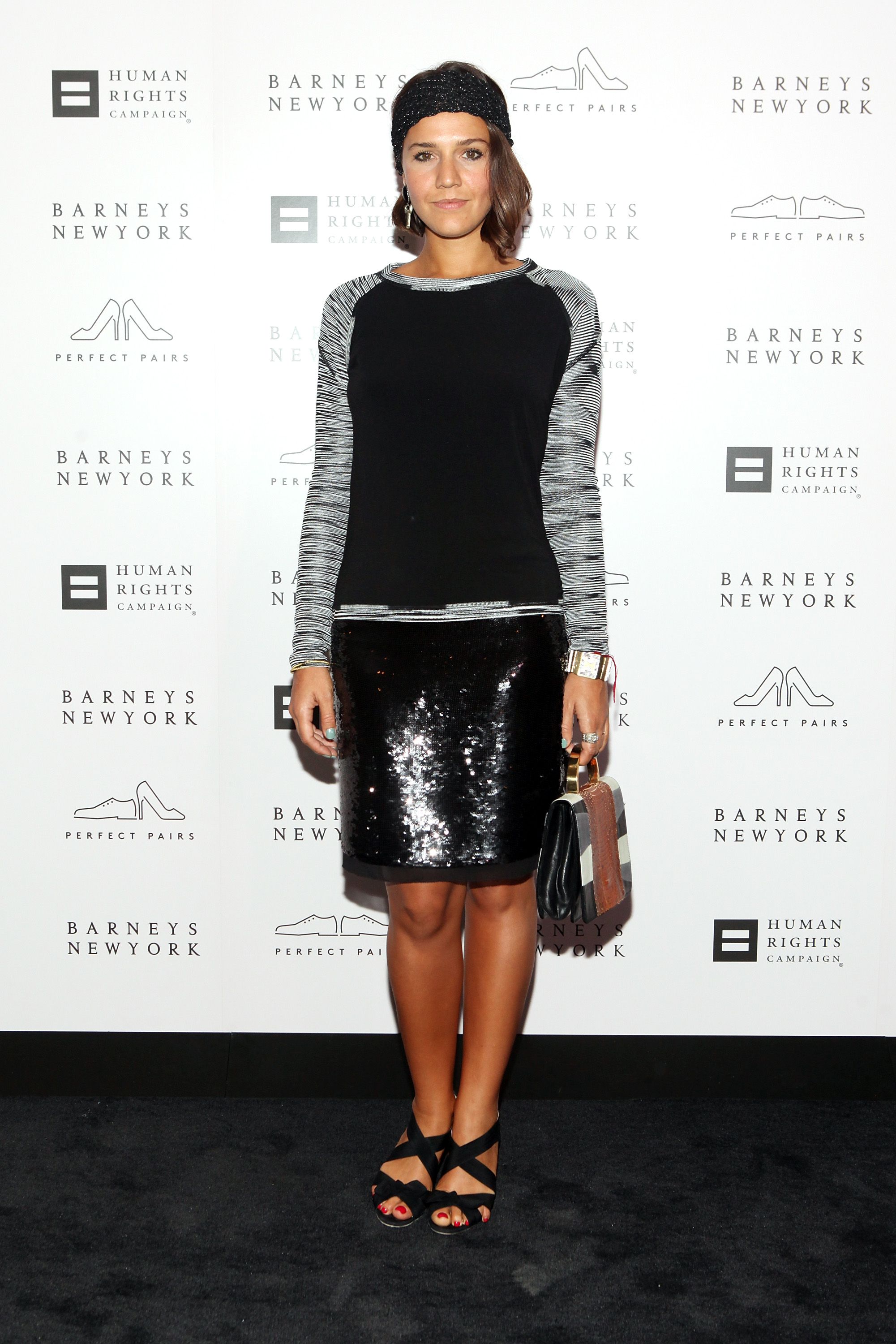 Margherita Missoni brought a little bit of sparkle to her evening attire at the Barneys cocktail party in NYC via a shimmery black skirt.