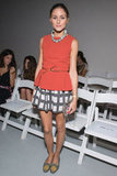 Olivia Palermo played up her red peplum top with a wide checkered skirt and embellished flat loafers at Tibi's Spring 2013 show.