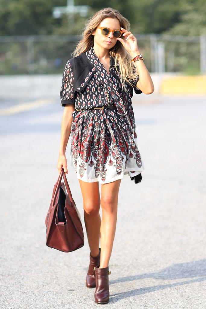 A boho mini got grounded with a touch of Fall-feeling leather add-ons, like a red Céline bag and burgundy ankle boots.