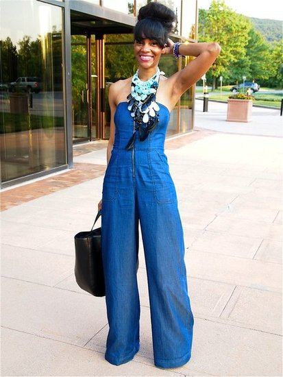 Strapless Denim Jumpsuit