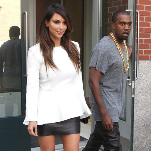 Kim Kardashian Wearing White Peplum Top
