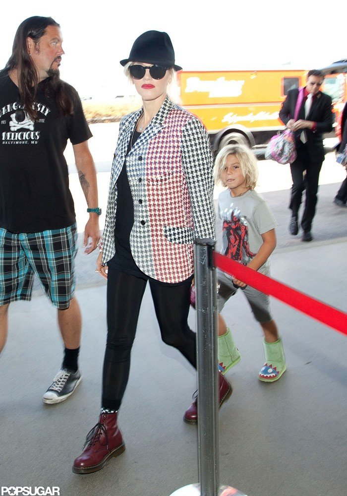 Gwen Stefani and Kingston walked into the airport in LA.